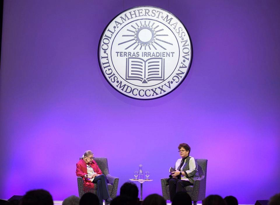 Ruth Bader Ginsberg with Biddy Martin at Amherst College 2019